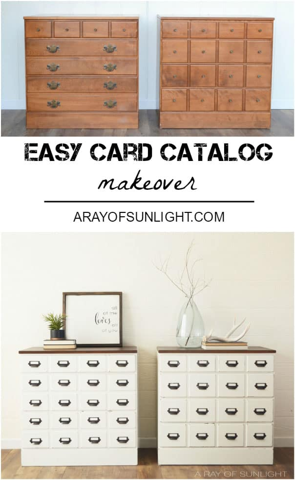 Diy Card Catalog Thrifted Bedroom Dresser Makeover By A Ray Of Sunlight How To Transform