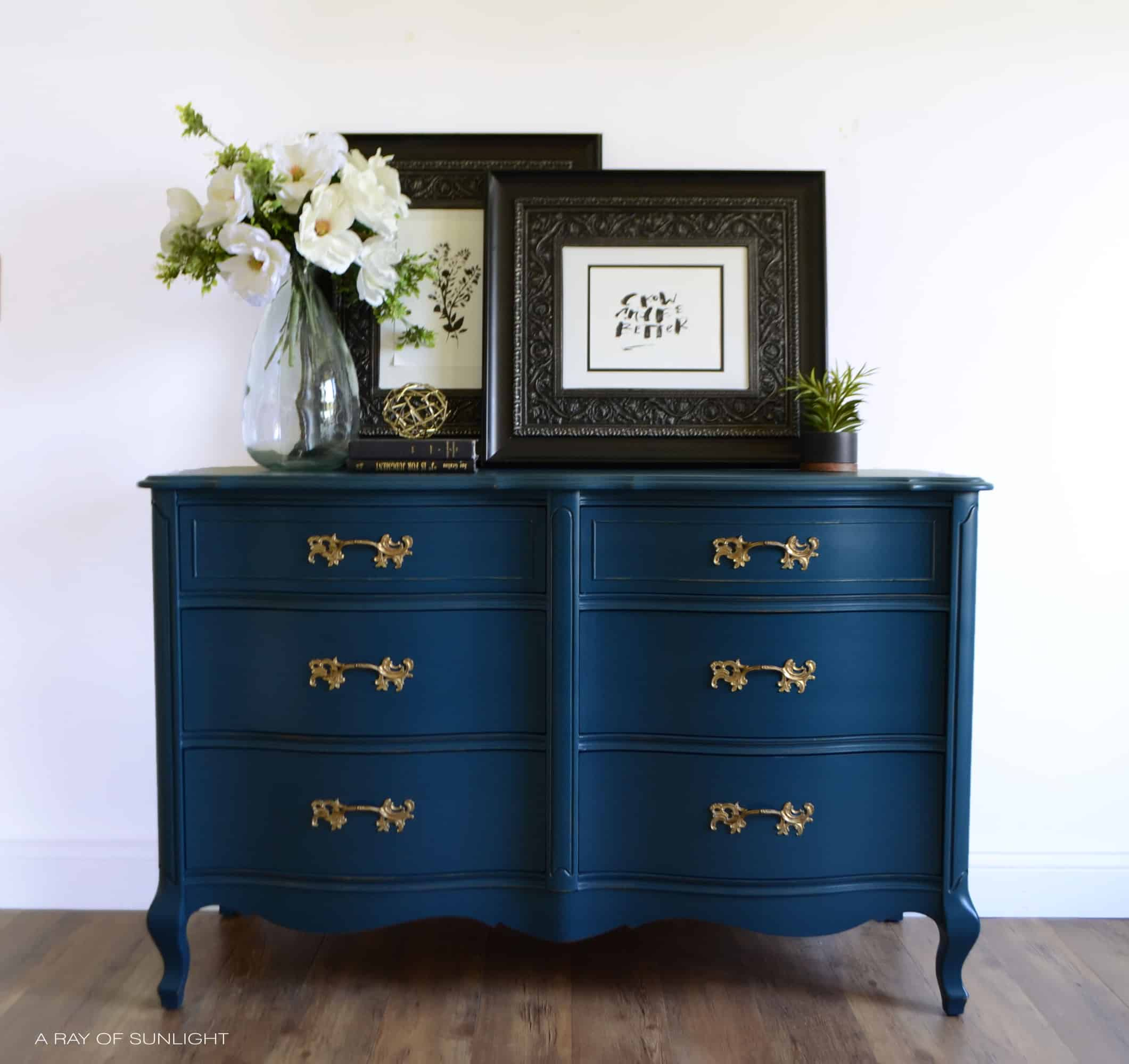 SOLD OUT - Navy and Gold Dresser - A Ray of Sunlight