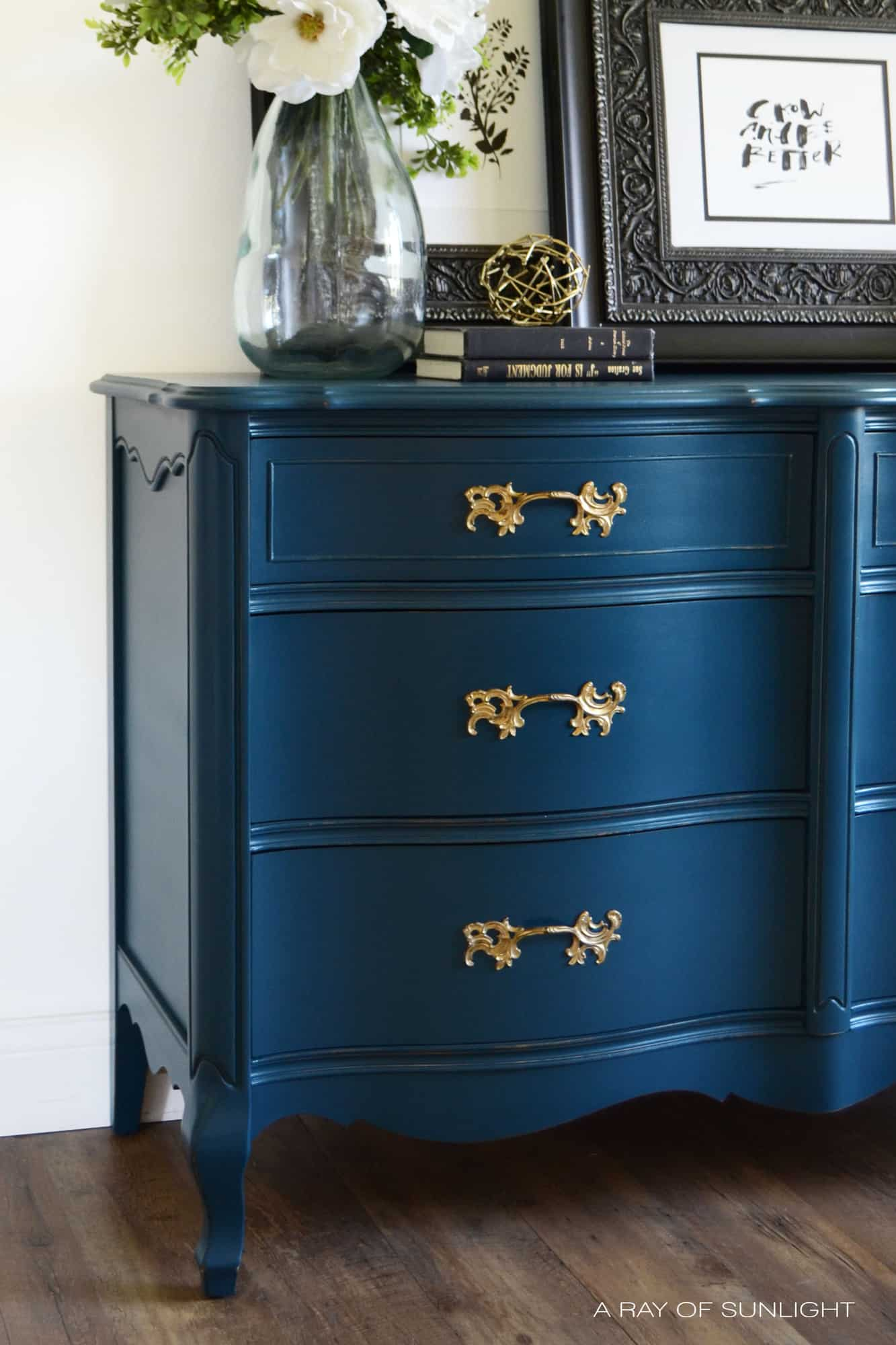 Learn How To Create This Navy Blue Finish With Antique Gold Hardware For Your Own Diy