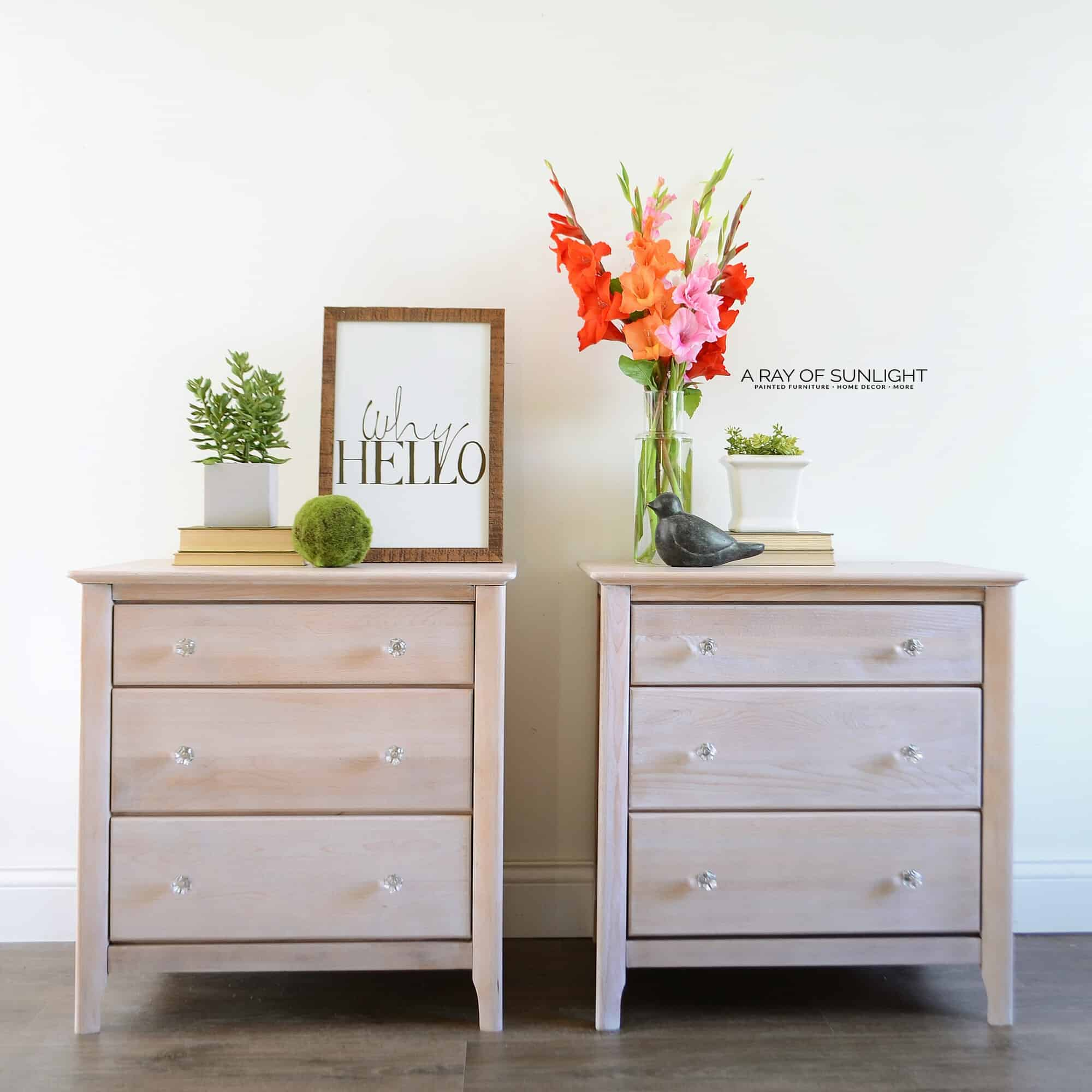Raw Wood Whitewashed Rustic Finish Modern Pair Of Nightstands By A Ray Of  Sunlight