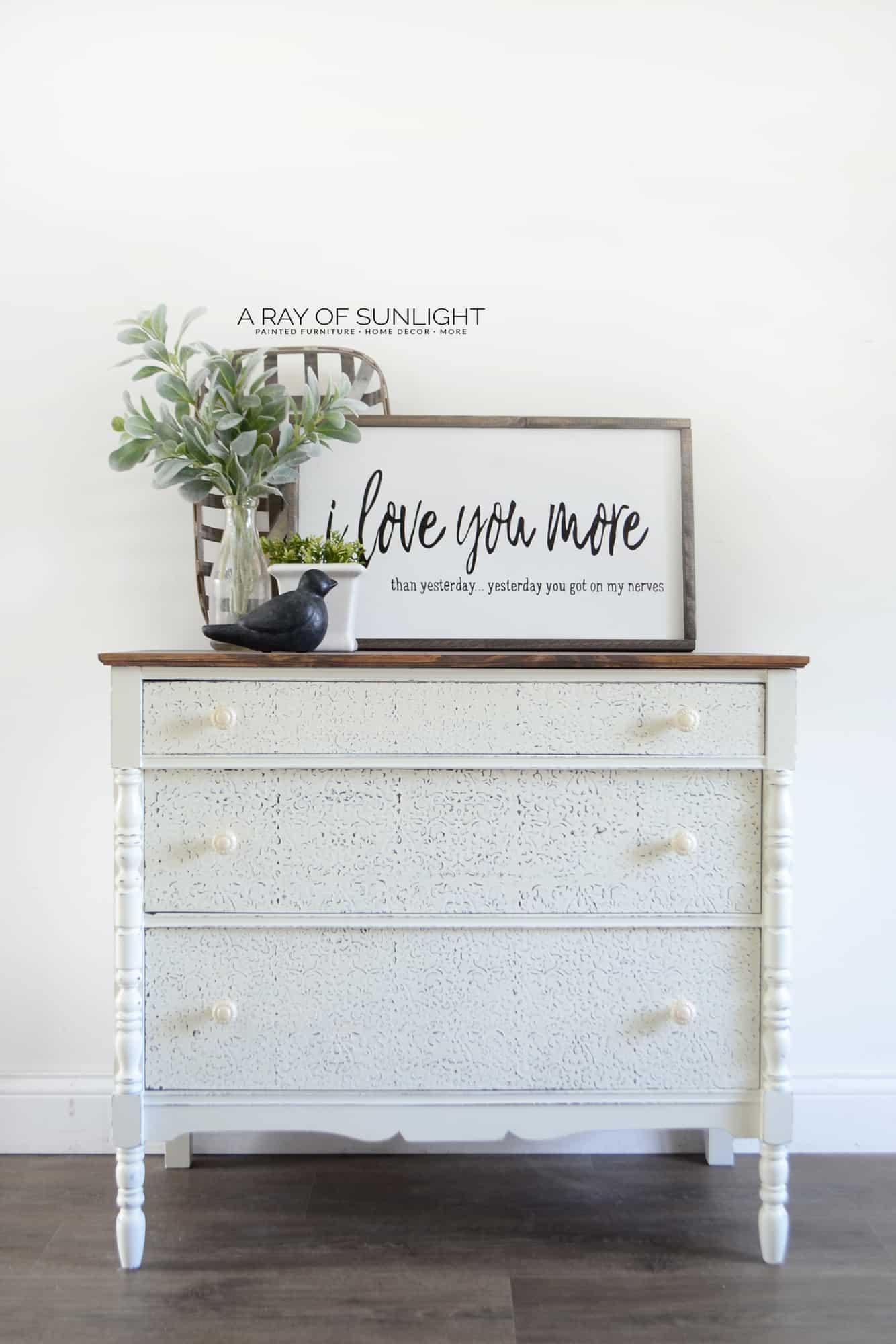 Creamy White Shabby Farmhouse Vintage Dresser with