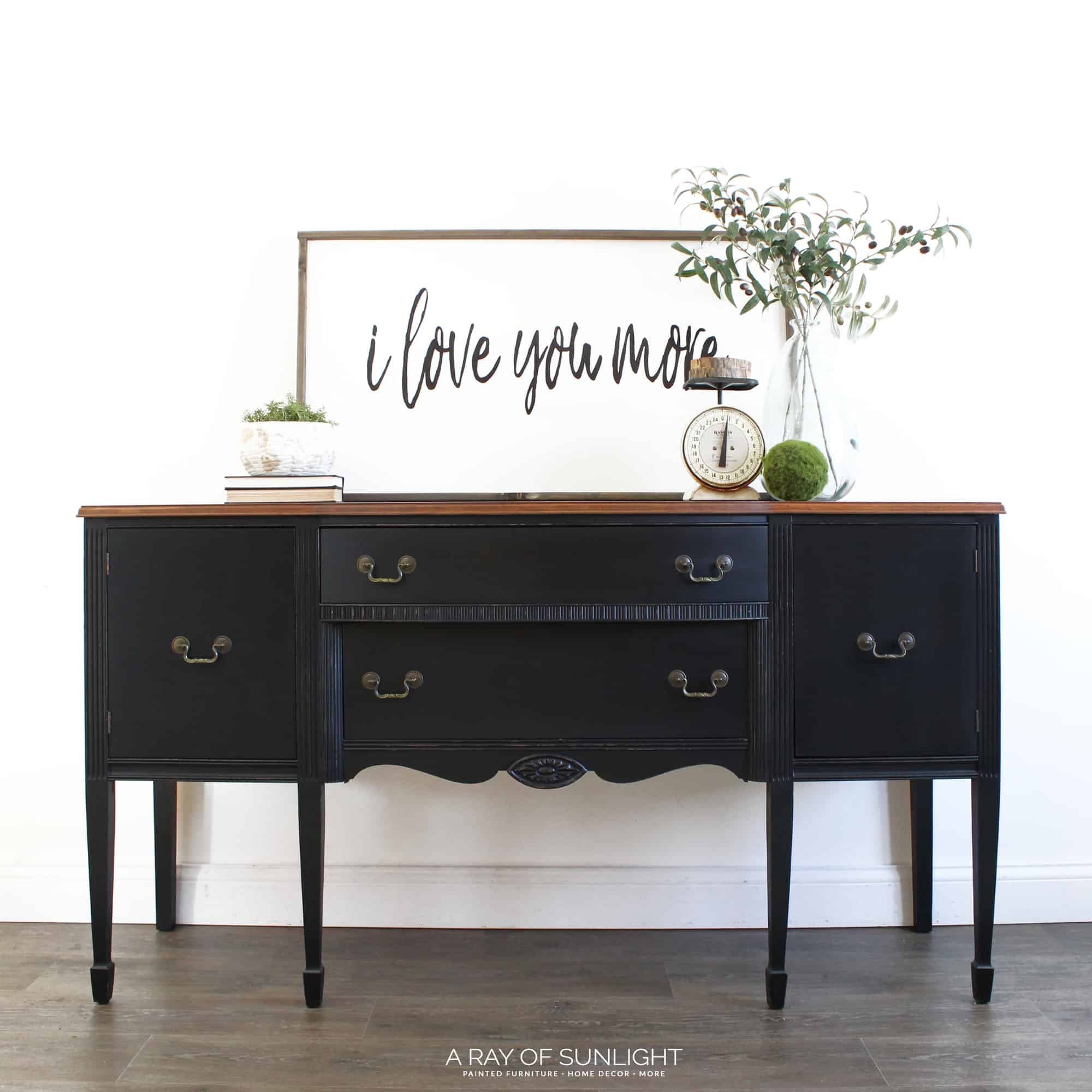 Black Buffet With Rustic Wood Top In Black Pepper By General Finishes And  Old Barn Milk