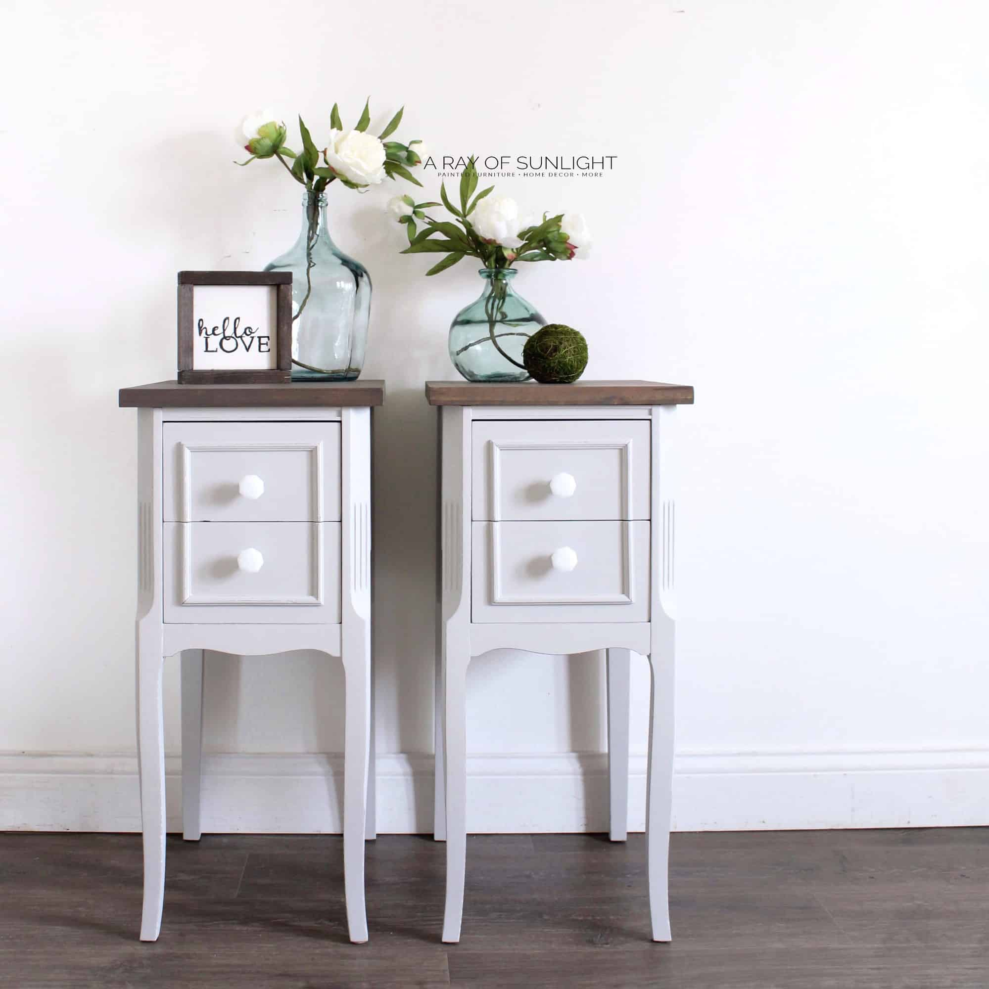 Exceptionnel FREE SHIPPING U2013 Light Gray Farmhouse End Tables
